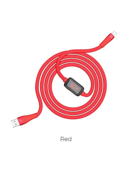 Cabo Hoco Selected Charging Data Timing Display Lightning 8-Pin S4 Red