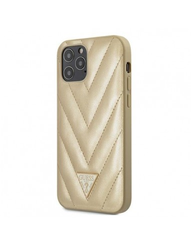 Capa Traseira V-Quilted Colletion Guess Iphone 12 E 12 Pro - Dourado l LMobile.pt