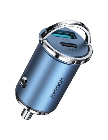 Cabo Joyroom Mini Dual Port Usb / Usb 45 W 5 A Smart Car Charger Power Delivery Quick Charge 3.0 Afc Scp Azul (C-A35)