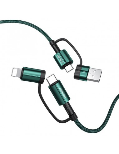 Cabo Joyroom 4In1 Multifunction Fast Charging Cable Usb / Usb - Usb / Lithtning Quick Charge Power Delivery 3 A 60 W 1,8 M Verde