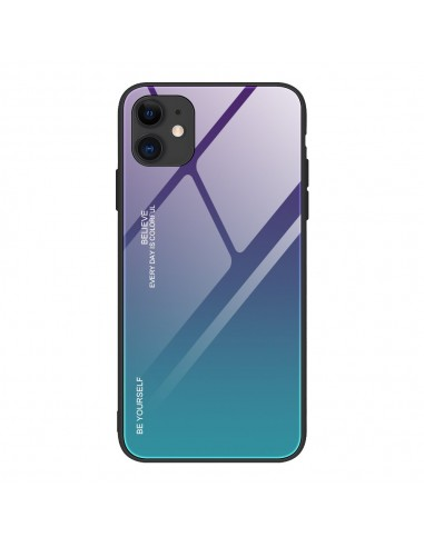 Película Normal Gradient Glass Durable Cover Back Iphone 12 Pro / Iphone 12 Verde-Roxo