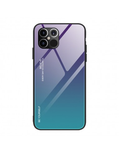 Película Normal Gradient Glass Durable Cover Back Iphone 12 Pro Max Verde-Roxo