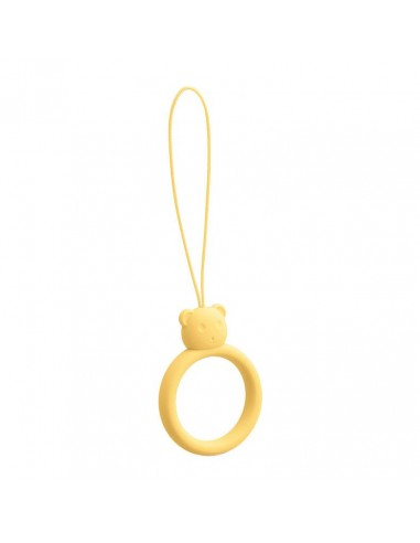 Capa Silicone Traseira A Lanyard A Phone Bear Ring On A Finger Amarelo l LMobile.pt