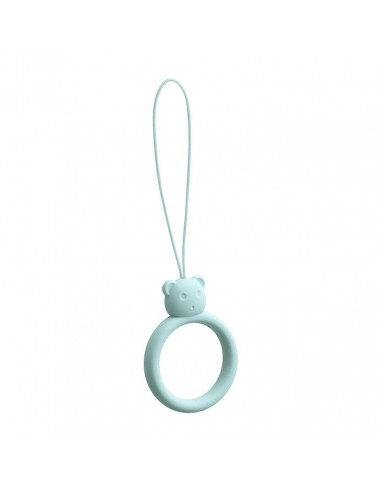 Capa Silicone Traseira A Lanyard A Phone Bear Ring On A Finger Skyblue l LMobile.pt