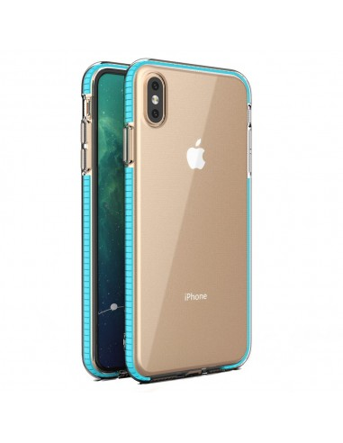 Capa Spring Clear Gel Colorful Frame Iphone Xs Max Claro Azul l LMobile.pt